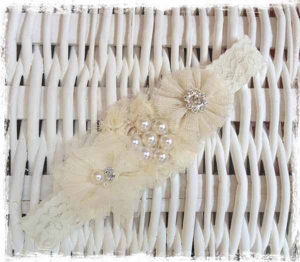 Baby, girl, lady ivory christening flower girl bridal fascinator flower headband FLHD61