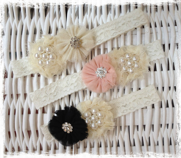 baby, girl & lady ivory or coral or black  vintage christening flower girl bridal fascinator lace flower headband  FLHD48