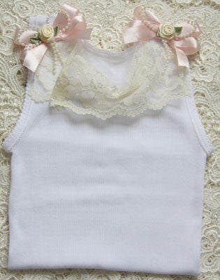 Baby to girl white ivory & pink vintage inspired singlet tank top.SINGLET14