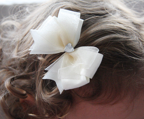 Baby & Girl Christening & Flower Girl Satin Bow Hair Clip - Clip06