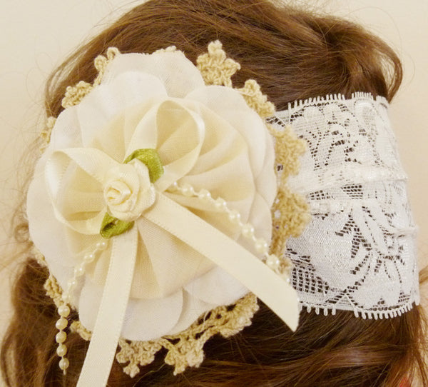 baby, girl, lady white or ivory vintage christening flower girl bridal fascinator hair clip on headband bandana wrap FLHD12