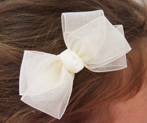 Baby & Girl Flower girl and Christening Organza & Satin Bow Hair Clip - Clip05