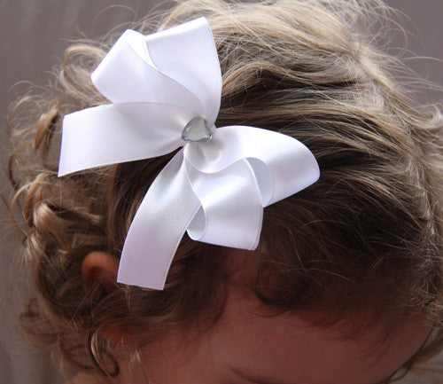 Baby & Girl Satin Bow Gem or Pearl Hair Clip - Clip04