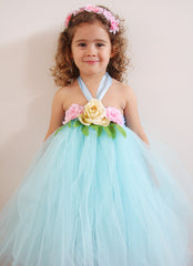 Baby & Girl Baby Blue Floral Fairy Tutu Dress - TUFW14