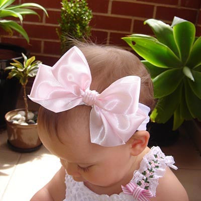 baby, girl, lady white pink or ivory christening flower girl bridal fascinator satin bow headband