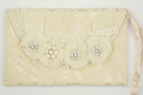 Bridal lace clutch bag