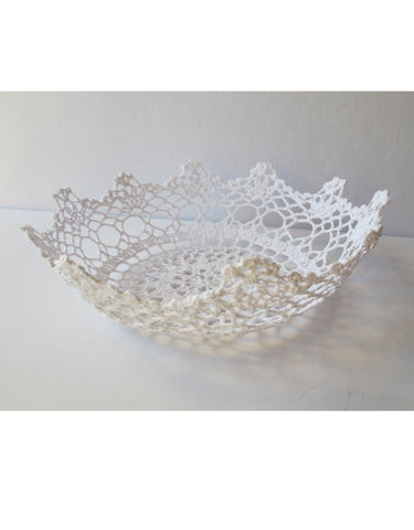 Crochet white basket