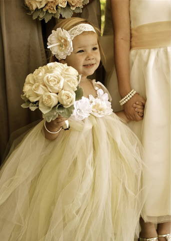 Yellow infant flower girl dress