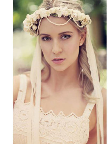 Flower pearl crown headband