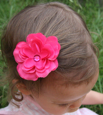 Baby & girl purple or hot pink rose on hair clip.clip52