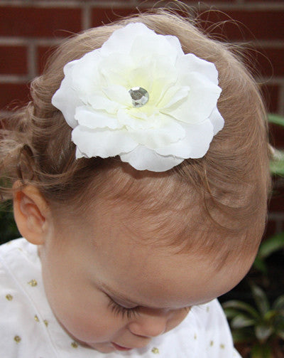 Baby & girl christening and flower girl white rose hair clip. clip51