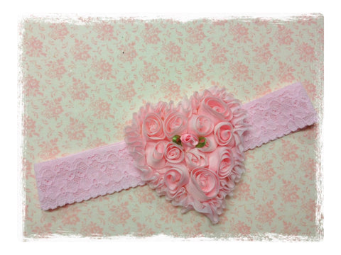 NEWBORN, BABY & GIRL PINK OR IVORY HEART LACE HEADBAND. BRGN02