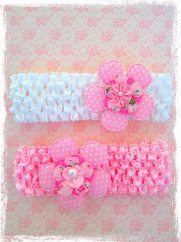 PINK OR WHITE FLOWER HEADBAND BRGN01