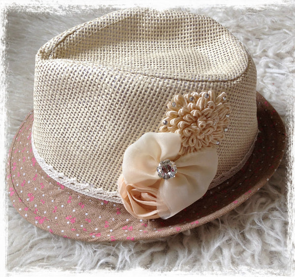 Floral fedora toddler girl to lady hat. HAT01