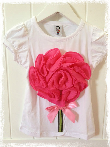 Girl white hot pink flower top. SHIRT03