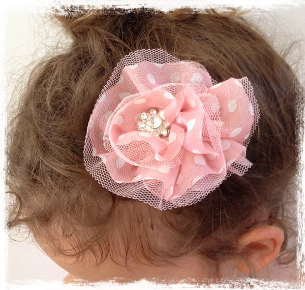 pink and white dots organza flower hair clip/brooch. CLIP87