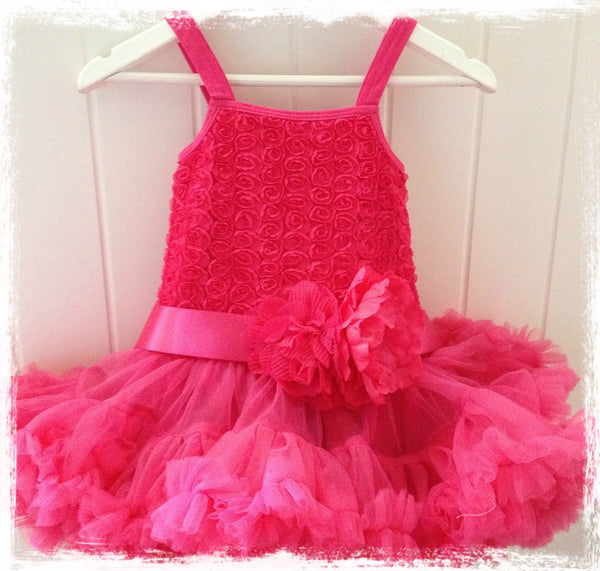 baby toddler & girl hot pink pettidress. tufw87