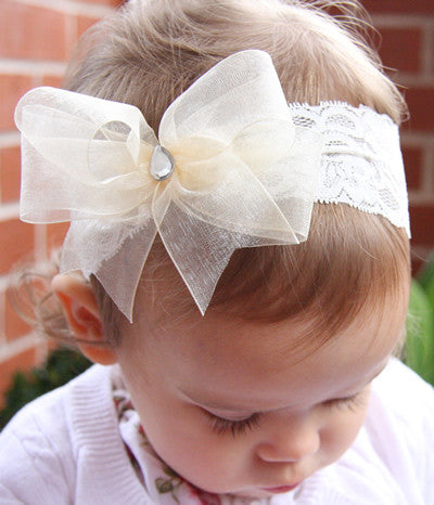 Baby, girl, lady white or ivory or pink christening flower girl bridal fascinator organza bow headband