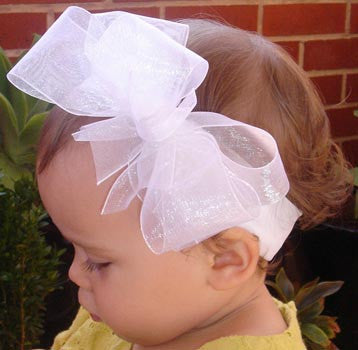 baby & girl white pink or ivory christening flower girl bridal fascinator organza bow headband