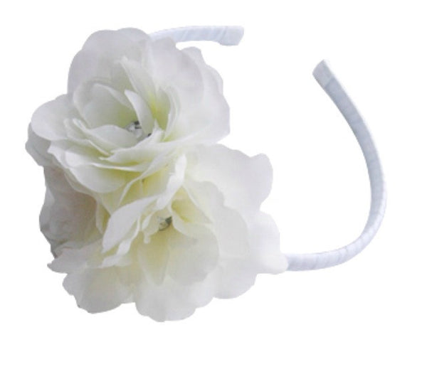 Girl & lady ivory or white or pink vintage christening flower girl bridal fascinator flower headband FLHD25