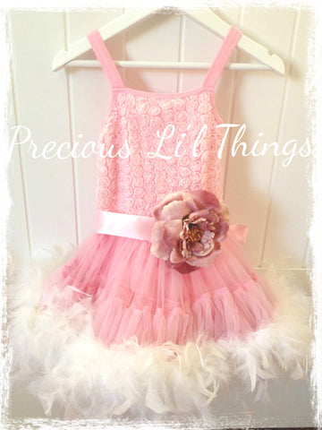 Toddler & girl pink feather pettitutu dress. Tufw09
