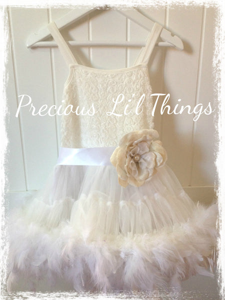 Baby toddler girl off white feather pettitutu christening & flowergirl dress. Tufw18