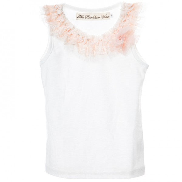 Girls off white and pink vintage inspired singlet tank top.SINGLET61