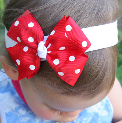 Baby, girl, lady hot pink baby pink red or black spotty bow headband