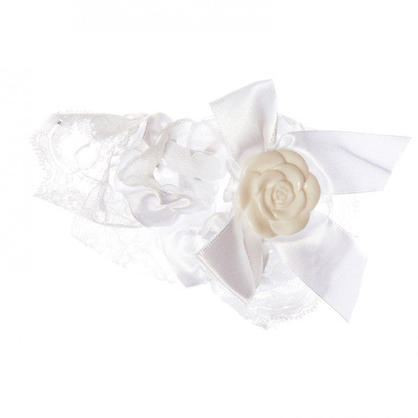 White satin and lace garter
