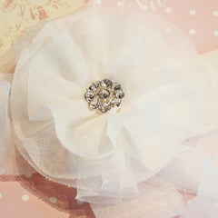 Baby girl lady white organza vintage flower hair clip & brooch christening flower girl. bridal clip72