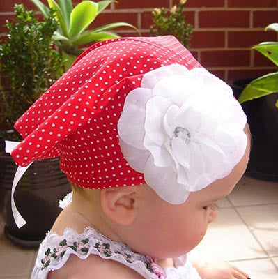 Baby & girl white rose flower red spottycotton bandana