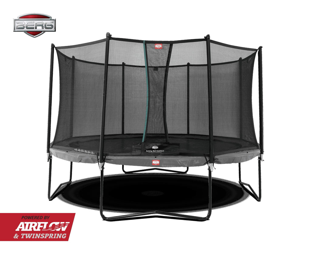 BERG Champion Airflow Trampoline 380cm GRÅ med Sikkerhetsnett - Best i Test - Shop4kids.no