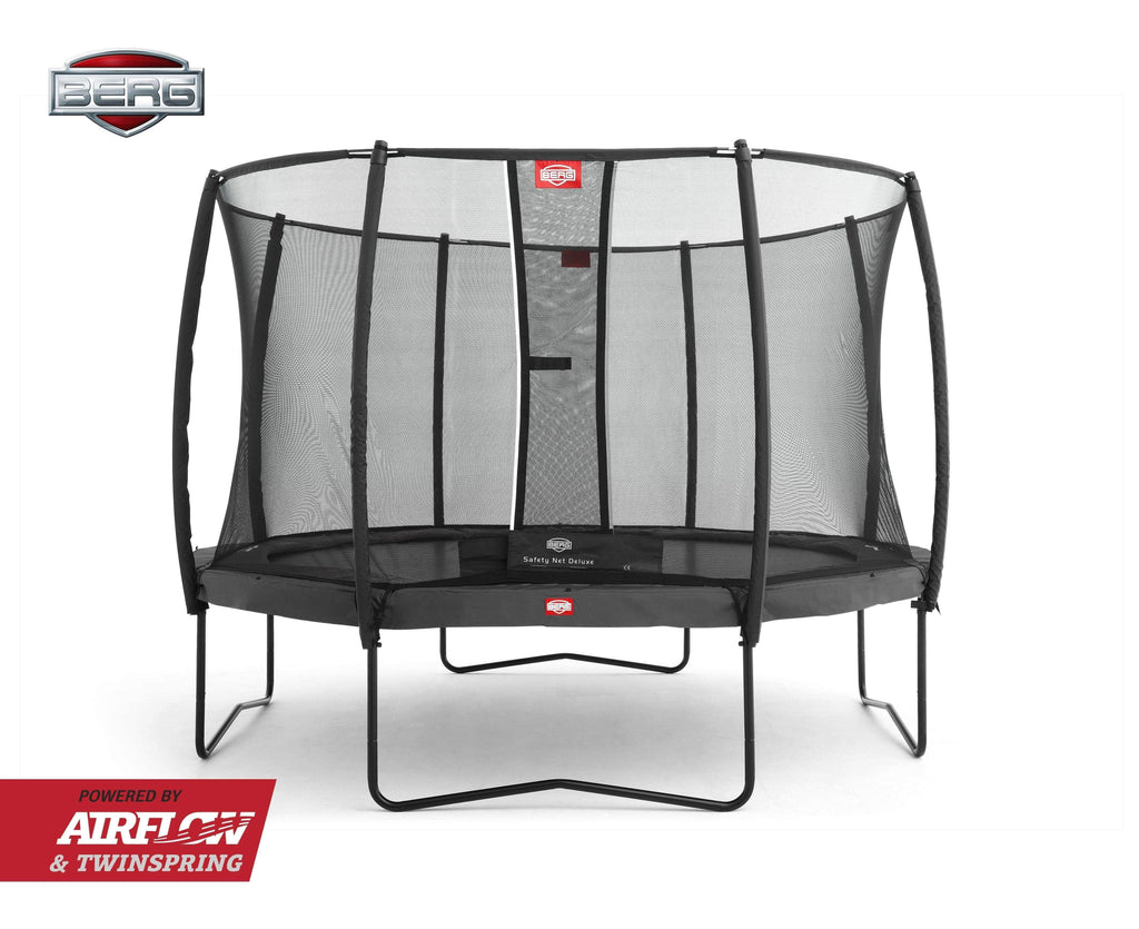 BERG Champion Airflow Trampoline 430cm Grå med Deluxe Sikkerhetsnett - Best i Test - Shop4kids.no