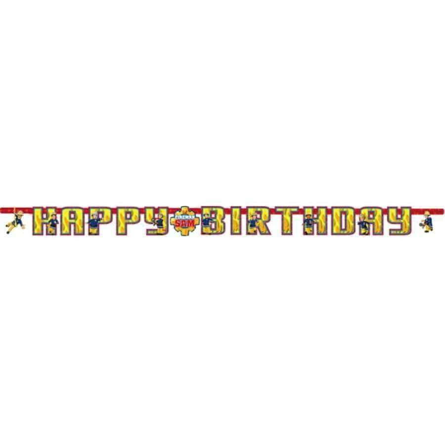 Brannmann Sam HAPPY BIRTHDAY Banner - 180cm - Shop4kids.no