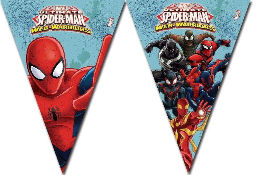 Ultimate Spiderman Web Warriors Flaggbanner med 9 Vimpler - 230cm