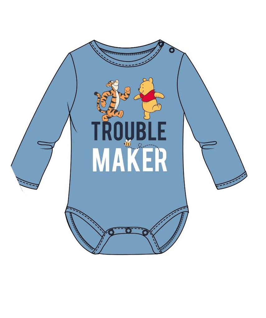 "Winnie the Pooh Baby Body ""Trouble Maker"" - Blå"