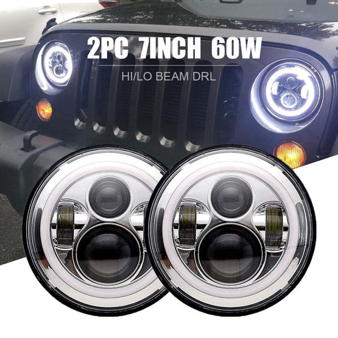 "7"" 75w LED Chrome Halo Headlight & 4'' Fog Lights Lamps For Jeep Wrangler JK"