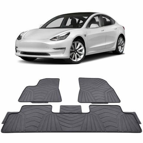 Tesla Model 3 Custom Fit Floor Mats - 2017-2019 - Front and Second Row (Black)