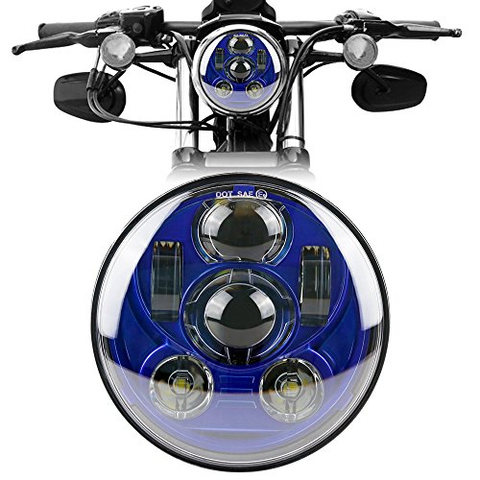 "Blue 5.75"" 5 3/4 LED Motorcycle Headlight Daymaker Projector DRL Bulb Harley"
