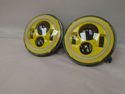"7"" JEEP WRANGLER JK CJ TJ LED RUBICON YELLOW WITH YELLOW HALO HEADLIGHTS PAIR"