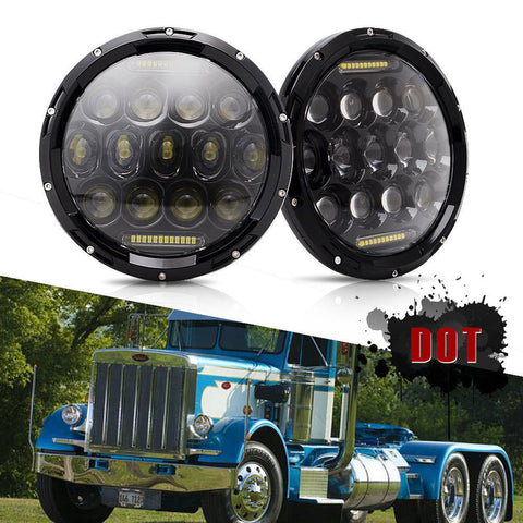 "75W Black LED Projector 7""Inch Round Headlights For Peterbilt 379 359"