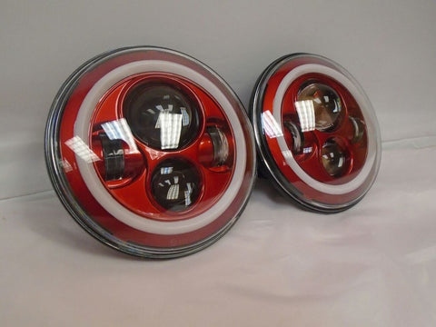 "7"" FITS: JEEP WRANGLER JK CJ TJ LED RUBICON RED WITH RED HALO HEADLIGHTS PAIR"