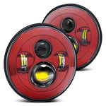 "2 x 7"" Red LED Round Headlight DRL For Jeep 97-2017 Wrangler JK"