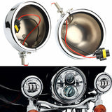 For Harley Davidson 2X 4.5'' Fog Light Outer Cover Housing Bracket LED Foglight