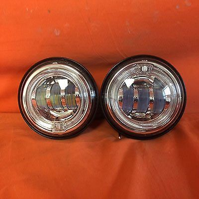 4.5″ Chrome Spot With Blue Halo Passing HID LED Fog Lights AUX PAIR 4-1/2″