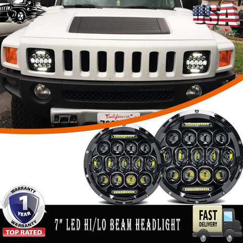 "Pair DOT Approved LED HUMMER H2 7"" REAL Projector Hi/Lo Beam w/ DRL Headlights"
