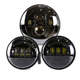 "7"" LED Projector Headlight + Passing Lights Fit for Harley Touring Black"