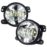 Pair 4 Inch Chrome Auto LED Passing Lighting Fog Lights for Jeep Wrangler