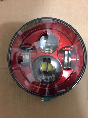 "7"" DAYMAKER RED Projector HID LED Light Bulb Headlight for Harley"