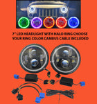 "7"" JEEP WRANGLER JK CJ TJ LED RUBICON CHROME PINK HALO HEADLIGHTS PAIR / SET"